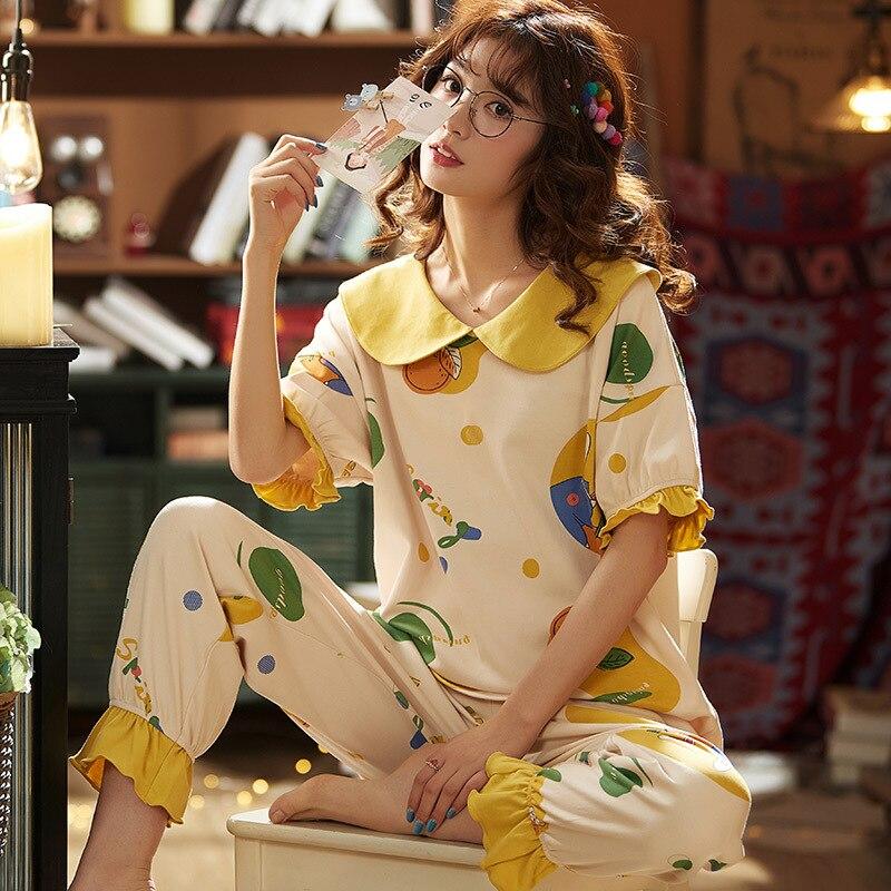 2020 Women Pajama Set Summer Knit Cotton Nightwear Female Short Sleeve Sleepwear Set Homewear Comfortable Casual Cute Home Suit