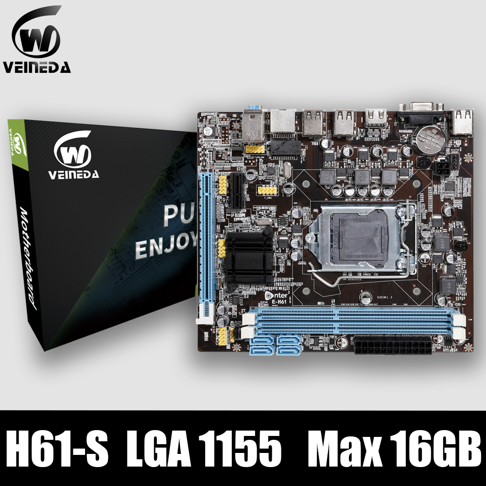 VEINEDA Original H61-S Desktop Motherboard Socket LGA 1155 FOR Intel Core I3 I5 I7 DDR3 Memory 16G UATX H61 PC Mainboard