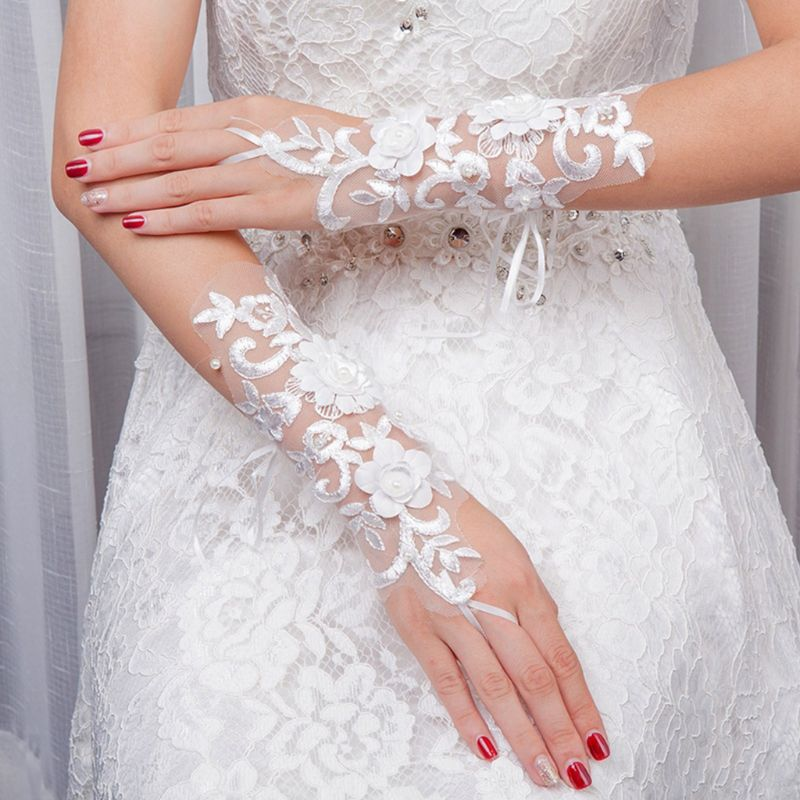 Bride Embroidery Lace Short Gloves Flower Faux Pearl Sunscreen Mittens