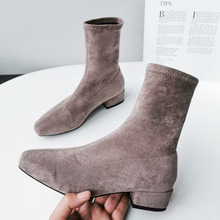 New Fashion Spring Autumn Platform Suede Ankle Boots Women elastic force Thick Heel Platform Boots