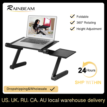 Ergonomic Adjustable Aluminum Laptop Desk Portable TV Bed Desk Tray Table Stand PC Laptop Table Desk Stand with Mouse Pad