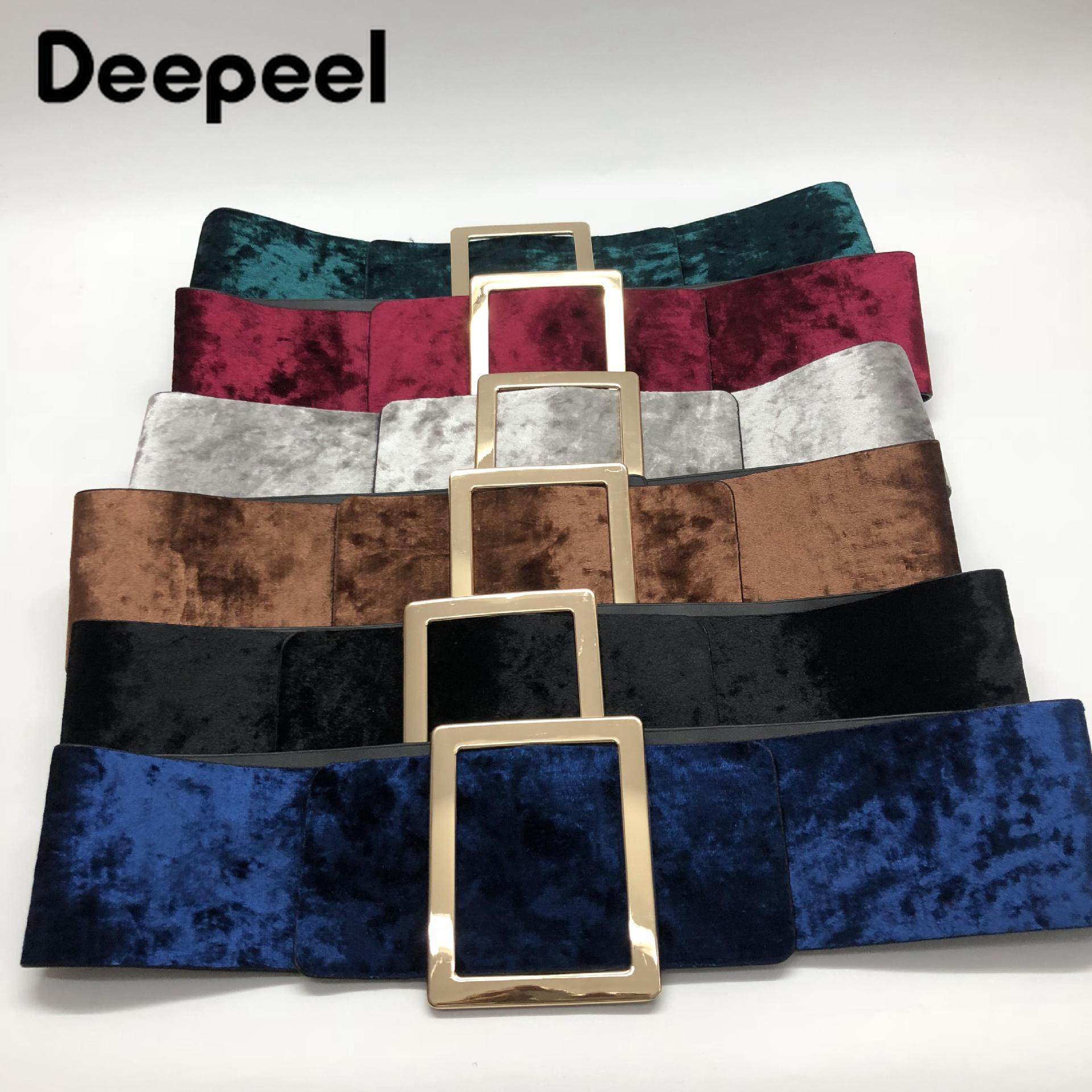 Deepeel 1pc 7.5cm*90cm  Womens Velvet Elastic Cummerbund Women's High Waist Slim Corset Belt With Dress Shirt Twotwinstyle YK713