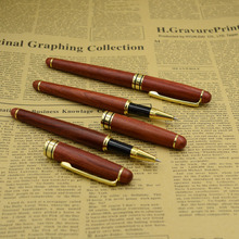 (12 Pieces/Lot) Luxury Red Wood Gel Pens 0.5 mm Black Ink Wooden Pen Office School Supplies Joy Corner