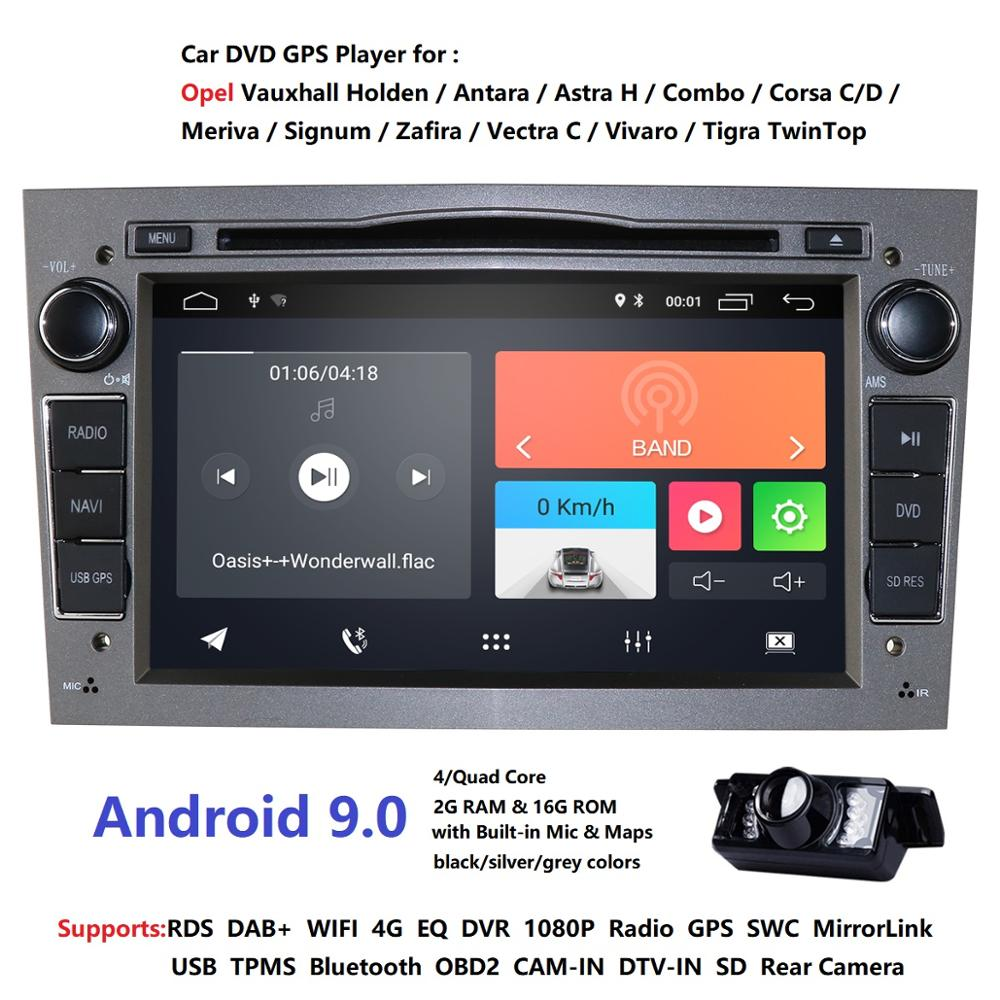 Lecteur multimédia 2din Android9.0 CarDVD Navigation GPS pour Opel Astra H Opel Combo Opel Corsa avec canette 2 grammes 4G RDS DSP DAB