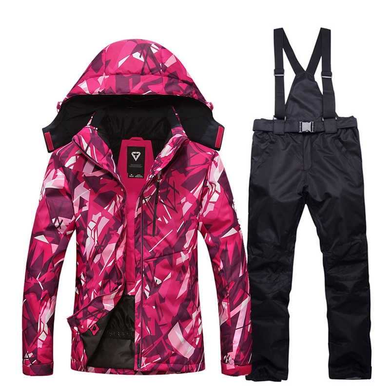 Ski Suit Women Winter Thick Warm Waterproof Windproof Skiing And Snowboarding Jacket And Pants Female Snow Costumes Outdoor Wear