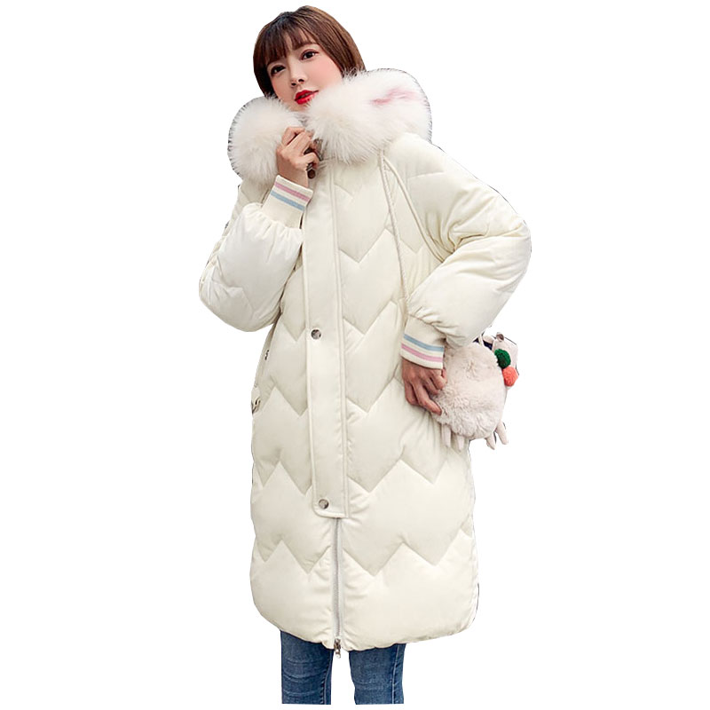 Chic Velvet Fur Coat Hooded Winter Down Coat Warm Jacket Plus Size Long Slim Women Cotton Padded Wadded Parkas Female Jacket