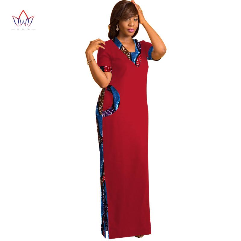 Brw африканская одежда для женщин с коротким рукавом макси платья