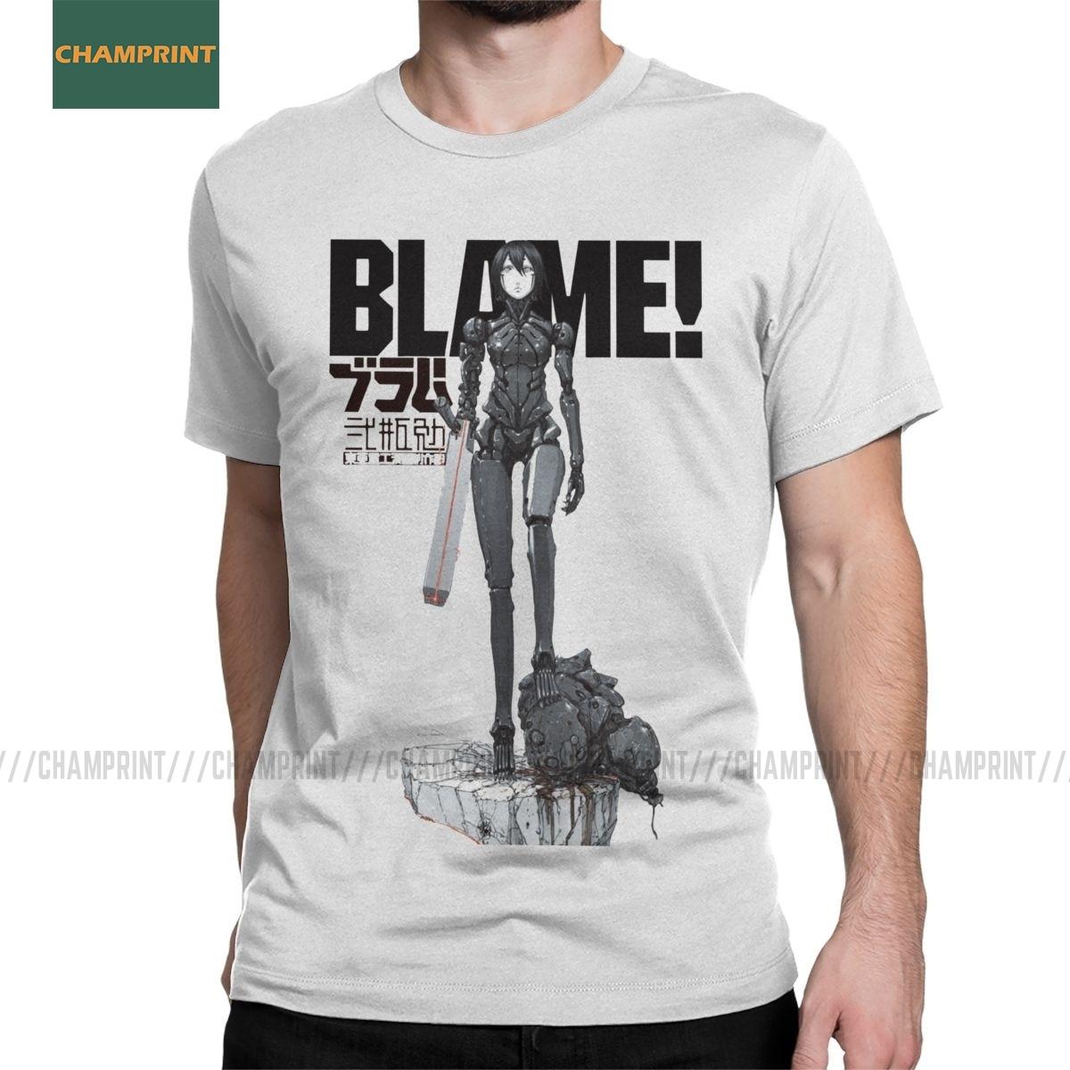 Blame 003 T Shirts Men's Cotton Hipster T-Shirt Round Neck Sidonia Manga Heavy Industries Nihei Tsutomu Anime Tees Short Sleeve