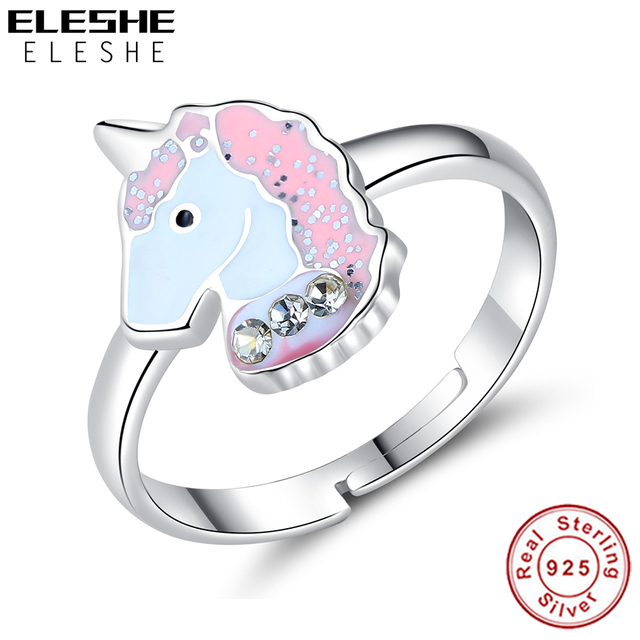 ELESHE 100% 925 Sterling Silver Finger Ring Pink Enamel Cute Unicorn Kids Ring for Baby Girl Children Fashion Jewelry Party Gift