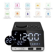 Digital Alarm Clock Bluetooth Radio Alarm Clock Speaker Temperatura 2 Porte USB Display A LED Della Decorazione Della Casa di Snooze Orologio Da Tavolo(China)