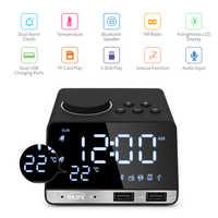 Réveil numérique Bluetooth Radio réveil haut-parleur température 2 Ports USB LED affichage décoration de la maison Snooze Table horloge