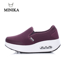 Minika Purple Slip On Toning Shoes For Women Walking Shopping Slimming Workout Sneakers Wedge Platform Swing Fitness