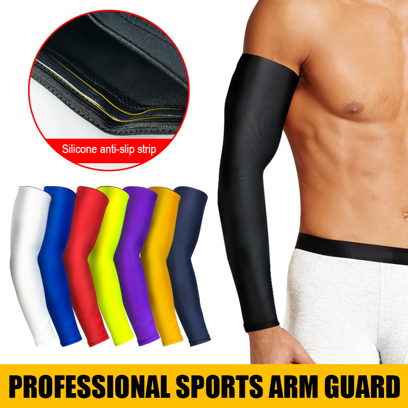 1pc Basketball Compression Arm Sleeve Sun UV Protection Breathable Elbow Pads Outdoor Sports Running Volley Cycling Arm Warmers