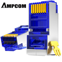 Ampcom cat6 차폐 rj45 모듈러 플러그 커넥터 8p8c 크림프 엔드 이더넷 케이블 이더넷 커넥터 금도금 50u
