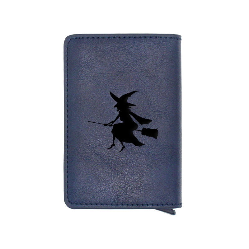 Classic Fashion Witch Design Card Holder Wallets Men Women Rfid Leather Short Purse Slim Mini Wallet Small Halloween Money Bag