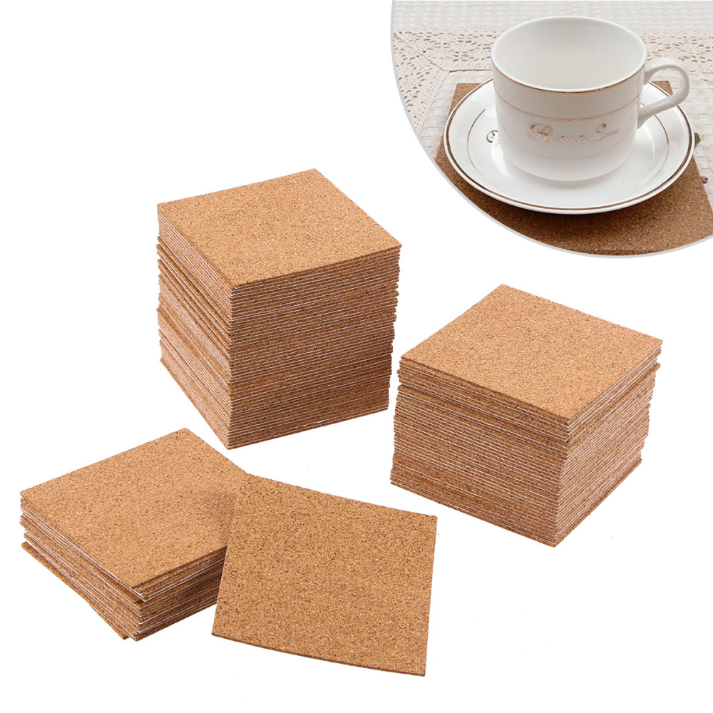 Independent 10/36/40pcs Thickness Self-adhesive Cork Coasters Squares Cork Mats Cork Backing Sheets For Coasters And Diy Crafts Supplies