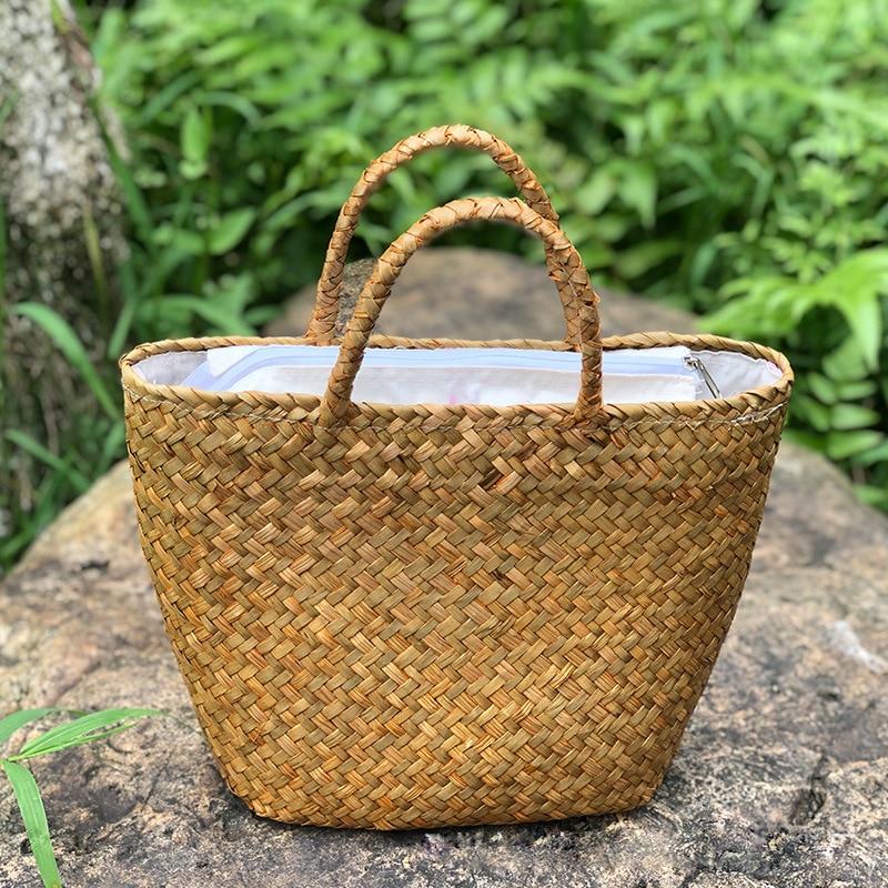 Women's Handbag Handmade Summer Straw Bag Natural Wicker Woven Tote Bali Beach Bags Female Braided Retro Rattan Bag Hand Basket