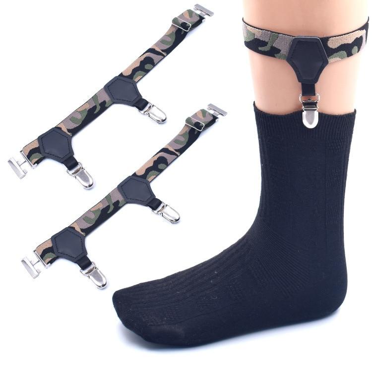 Mens Adjustable Sock Garters Suspenders Military Police Camouflage Sock Garters Belt For Men Uniform Formal Wearing 2pcs