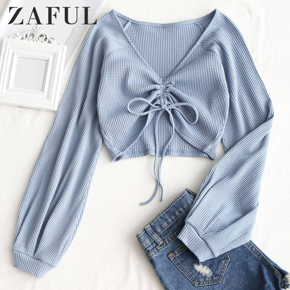 ZAFUL V Neck Long Raglan Sleeve Knit Top Women T-Shirt 2019 Spring T Shirt Solid Ladies Tops Casual Pullovers Female Crop Top