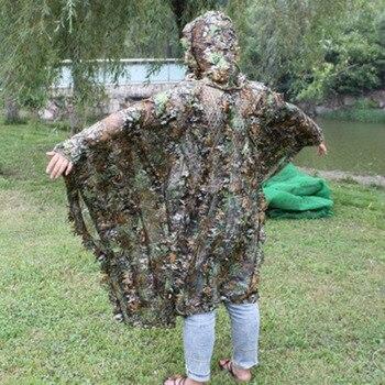 Gerçekçi 3D yaprak kamuflaj panço pelerin Stealth takım elbise açık ormanlık CS oyunu giyim avcılık çekim için kuş gözlemciliği seti