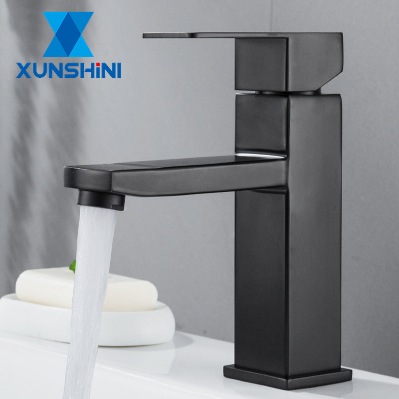 XUNSHINI Black Square  Bathroom Sink Faucet Single Handle Basin Faucet Wash Tap Bathroom Toilet Deck Mounted Basin Tap 1