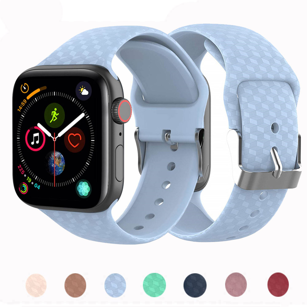 3D Texture Strap For Apple Watch 5 4 Band Correa Applewatch 44mm 40mm 42mm 38mm Sport Silicone Iwatch 5 4 3 2 1 Bracelet