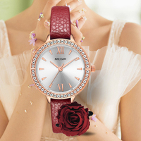 MEGIR Red Watch Women Luxury Diamond Ladies Watch Genuine Leather Bracelet Wristwatch Female Clock Relogio Feminino New 4210