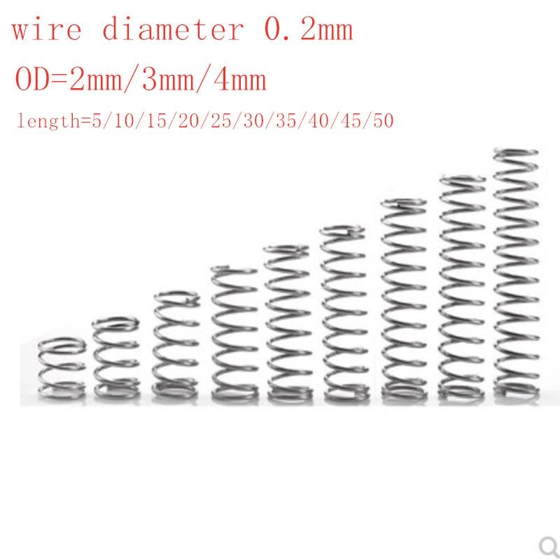 20 шт./лот 0,2 мм микро-компрессионная пружина из нержавеющей стали Внешний диаметр 2 мм/3 мм/4 мм длина от 5 мм до 50 мм