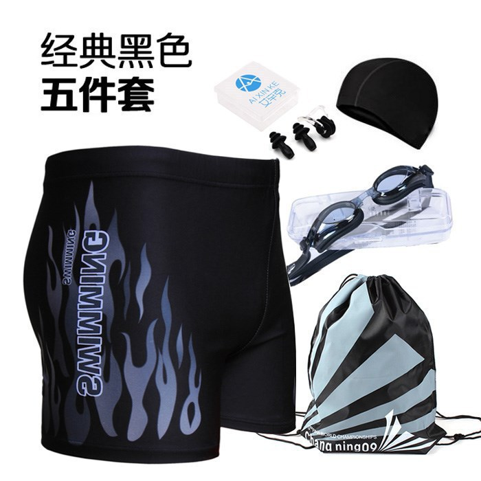 MEN'S Swimming Trunks Goggle And Swimming Cap Outfit Plus-sized High-waisted Fashion Flame Boxer Conservative Hot Springs Bathin