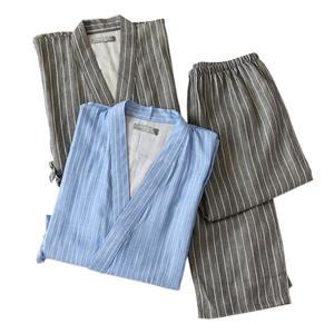 Kimono Men Robe-Trousers Pajamas-Sets Japanese Cotton for Male Plus-Size XL Short-Sleeve