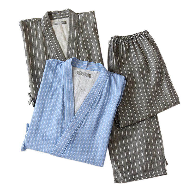 Hot sale 100% cotton kimono men robe pajamas sets simple short sleeve japanese Robe trousers for male plus size XL pyjamas Robes