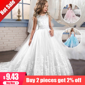 2020 Girl Children Wedding Dress white First Communion Formal long Lace Princess Prom Dress Party for Girl 3-14 Year Costume(China)
