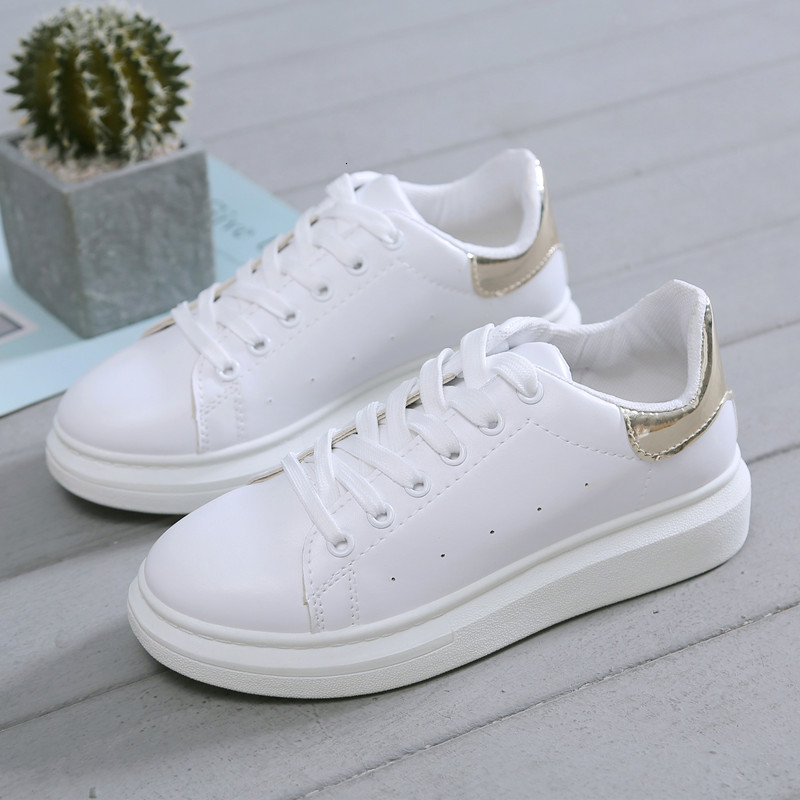 2019 New Genuine Leather Platform Sneakers Women Casual Shoes Cow Classic Small White Female