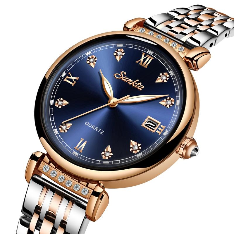 SUNKTA New Women Watch Top Luxury Brand Creative Design Steel Women's Wrist Watches Female Clock Relogio Feminino Montre Femme