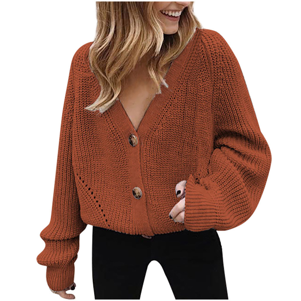 V Neck Button Down Long Sleeve Sweater Tricot Femme Cable