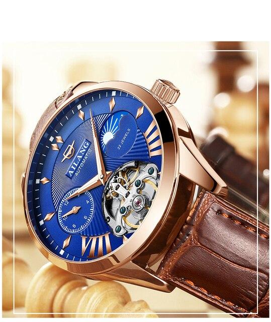 AILANG جودة توربيون ساعة رجالي الرجال القمر المرحلة التلقائي السويسري ساعات الديزل الميكانيكية ساعة Steampunk شفافة 5