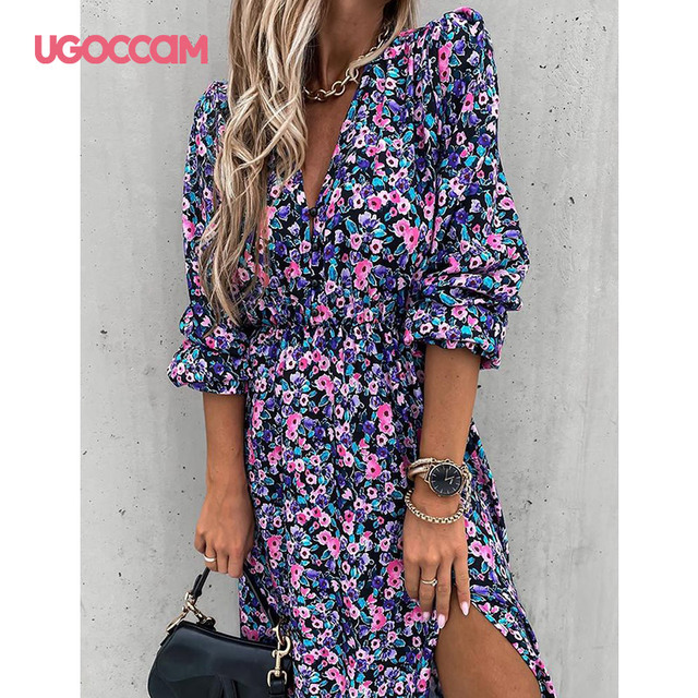UGOCCAM Women Dress Chiffon V-Neck Party Dress A-line Women Half Sleeve Flower Print Floral Dress female Vestido Plus Size 1