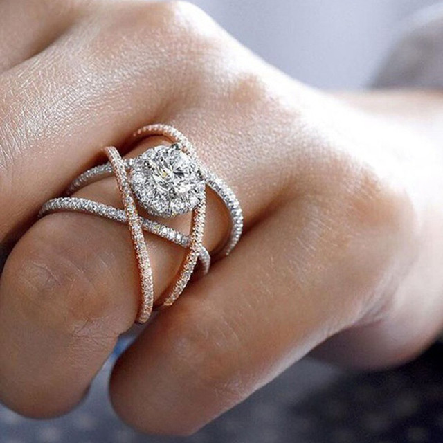 925 sterling silver rose gold color cross engagement ring for women band wedding lady anniversary party gift wholesale r5000