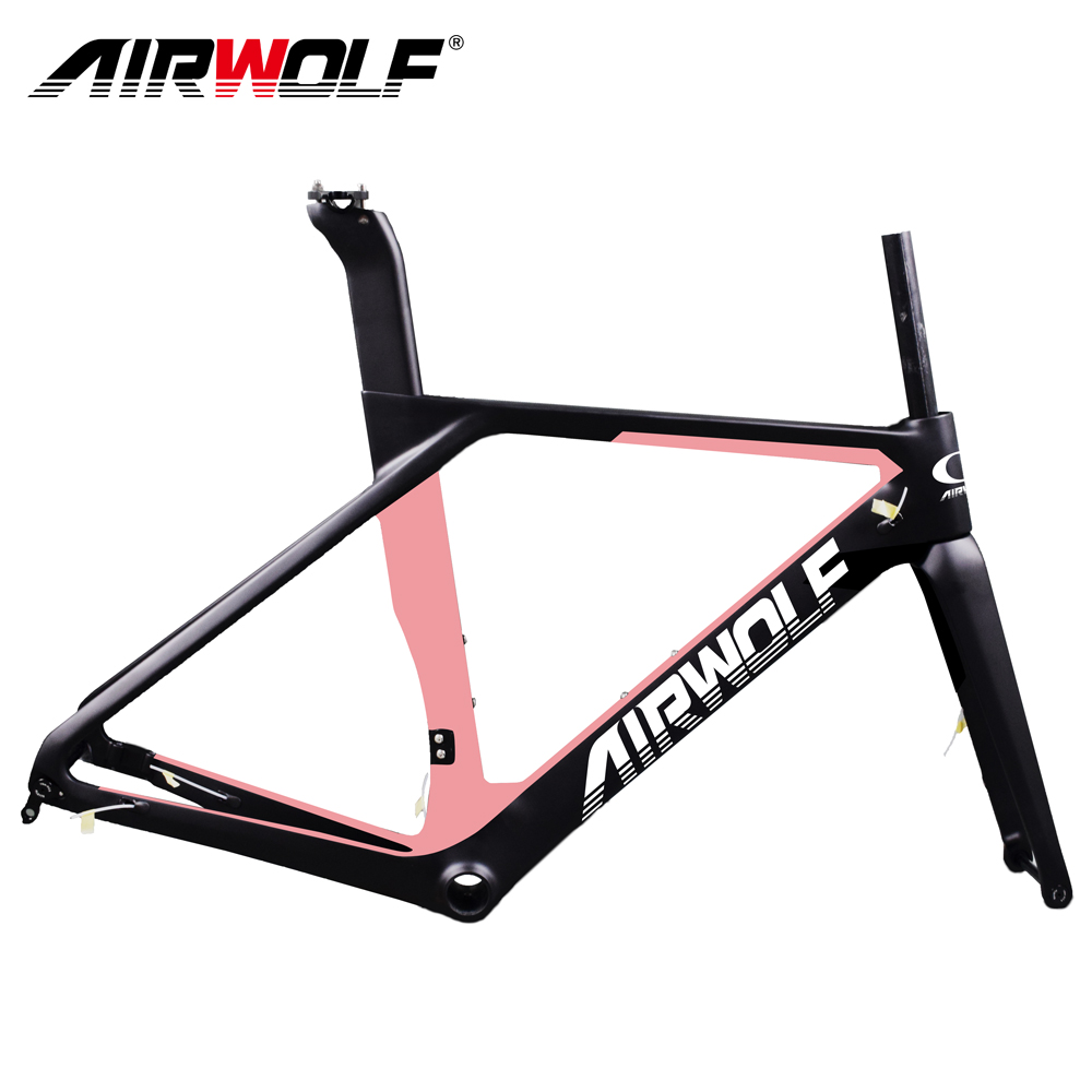 AIRWOLF Carbon Road Bicycle Frame With Fork Seatpost Aero Breaking Wind Disc Brake Thru Axle 142*12mm Cycling Bike Frameset 700C