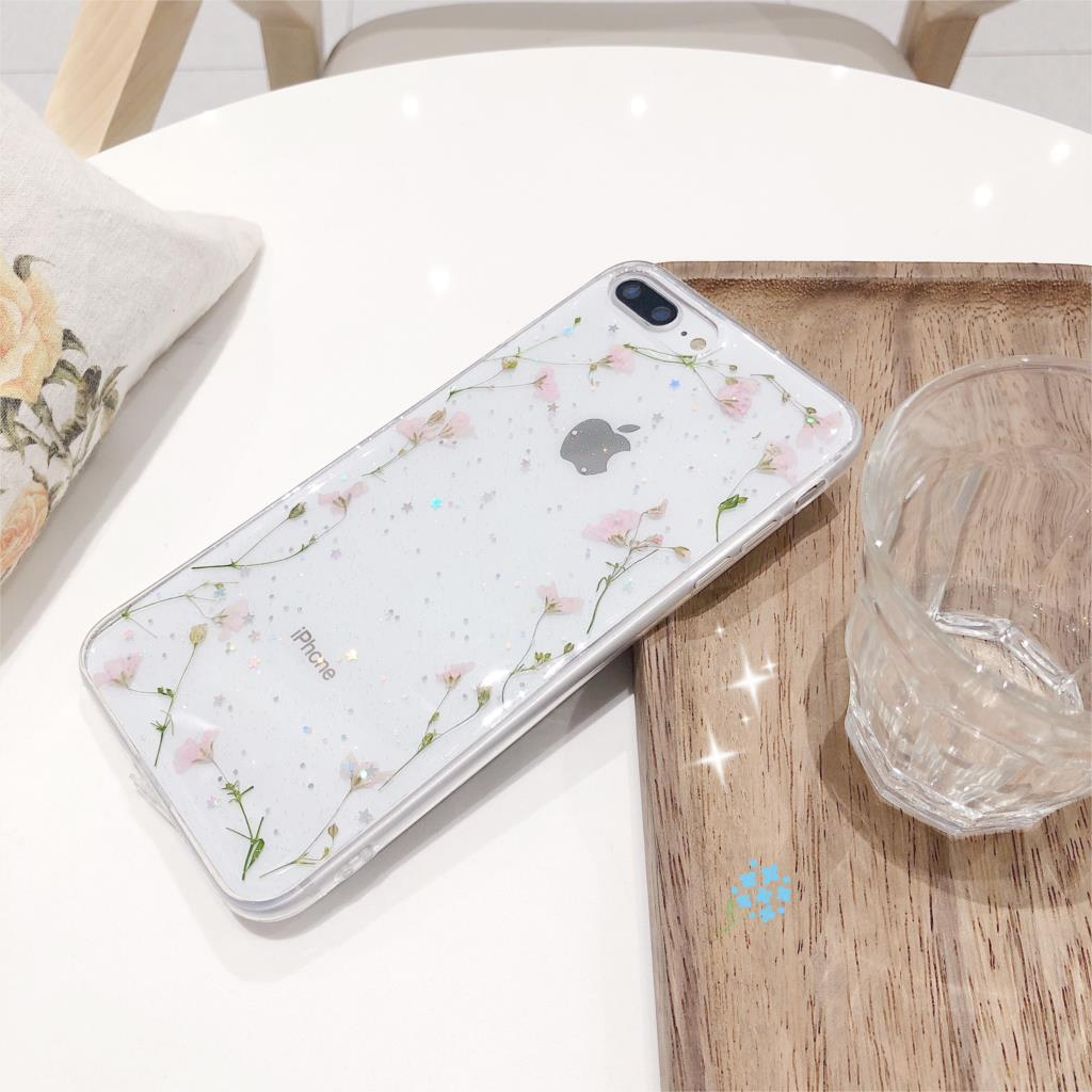 Real Dried Flowers Transparent Soft Cover For iPhone X 6 6S 7 8 Plus 11 Pro Max Phone Case For iphone XR XS Max Cover