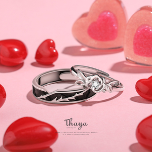 Image 3 - Thaya Original Design 925 Sterling Silver Crystal Romantic Rose Couple Rings For Engagement Gift Women Rings