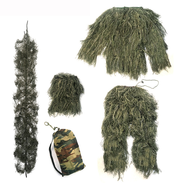 3D Camouflage Suits Woodland Clothes Wargame Paintball Airsoft Ghillie Suit Adults Kid Hunting Army Military Tactical Sniper Set 3