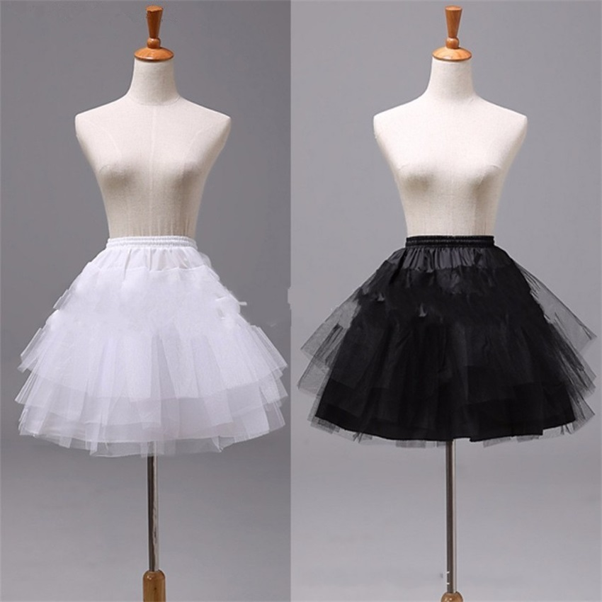 Top Quality Stock White Black Ballet Petticoat Tulle Ruffle Short Crinoline Bridal Petticoats Lady Girls Child Underskirt