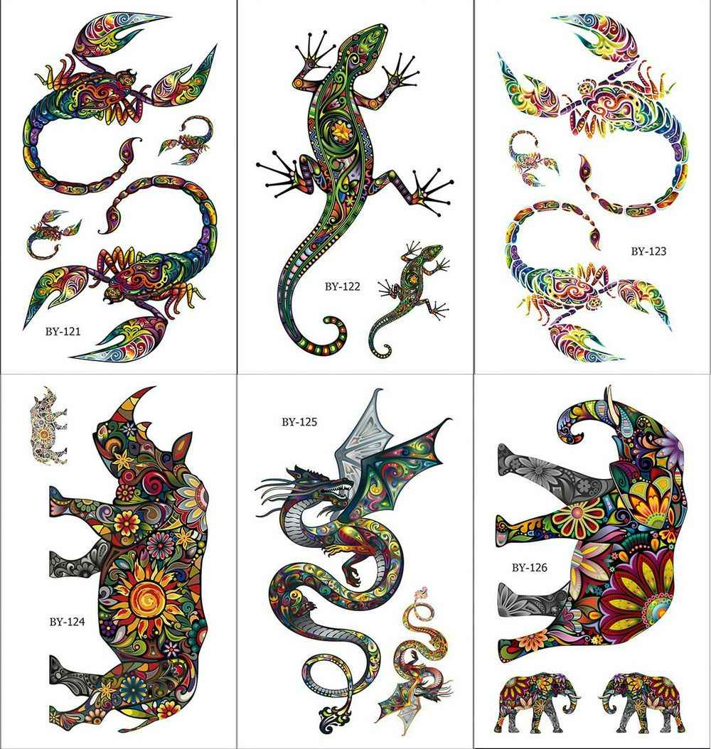 Colorful Butterfly Tattoos Temporary Women Scorpion Arm Flying Dragon Art Tattoo Stickers Kangaroo Water Transfer Tatto Lizard