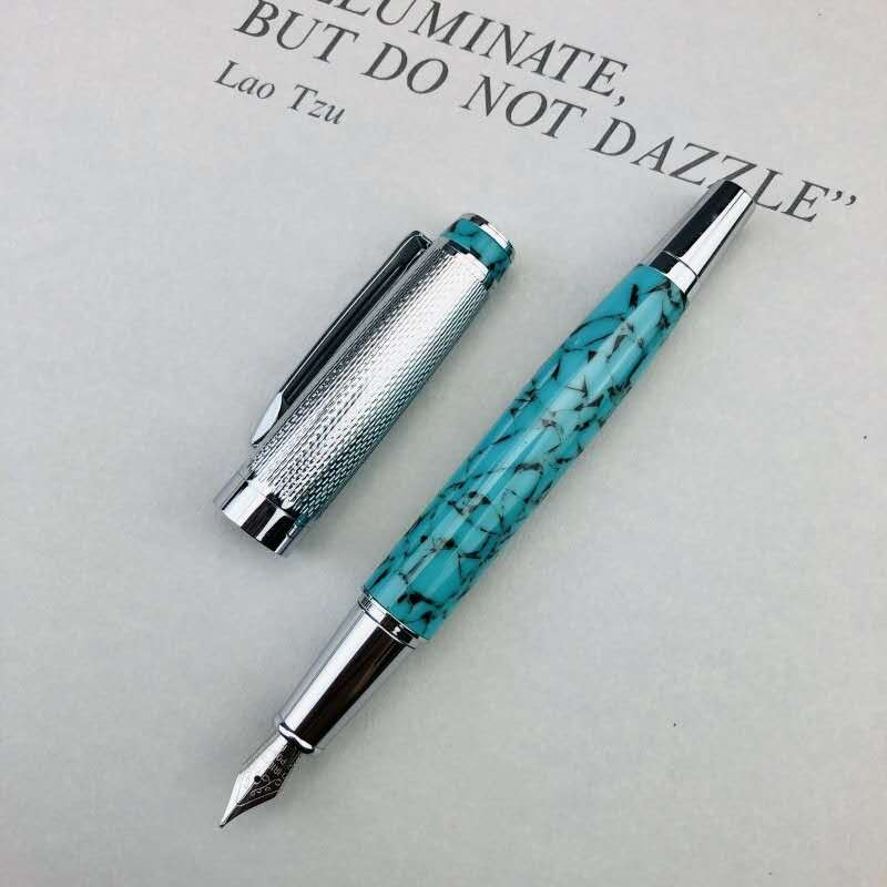 Resin Fountain Pen Metal Ink Pen F Nib Silver Clip Stationery Office School Supplies Writing Gift