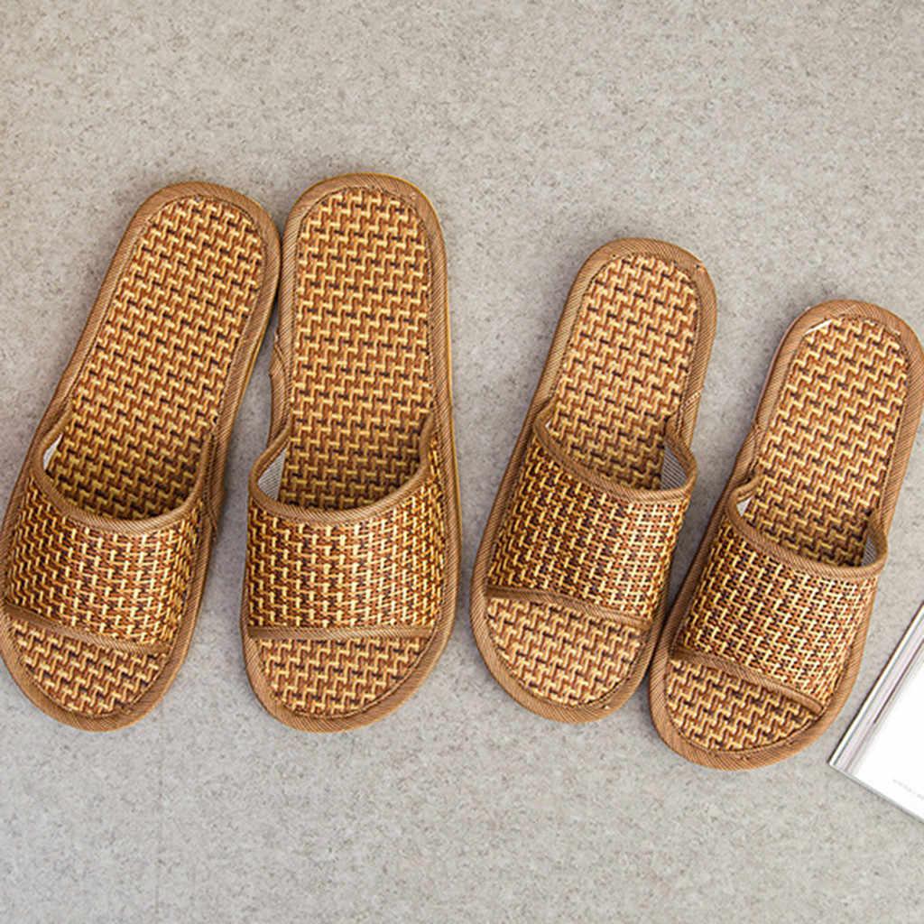 SAGACE, zapatillas Unisex de moda para hombres y mujeres, zapatillas de caña para el hogar, zapatos de interior, sandalias y zapatillas de bambú de verano para el hogar