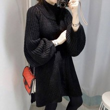 Autumn Winter Women Long Sleeve Turtleneck Knit Sweater Lantern Sleeve Side Slit Long Sweaters Loose Pullovers pull femme #25 raglan sleeve side slit lace up sweater