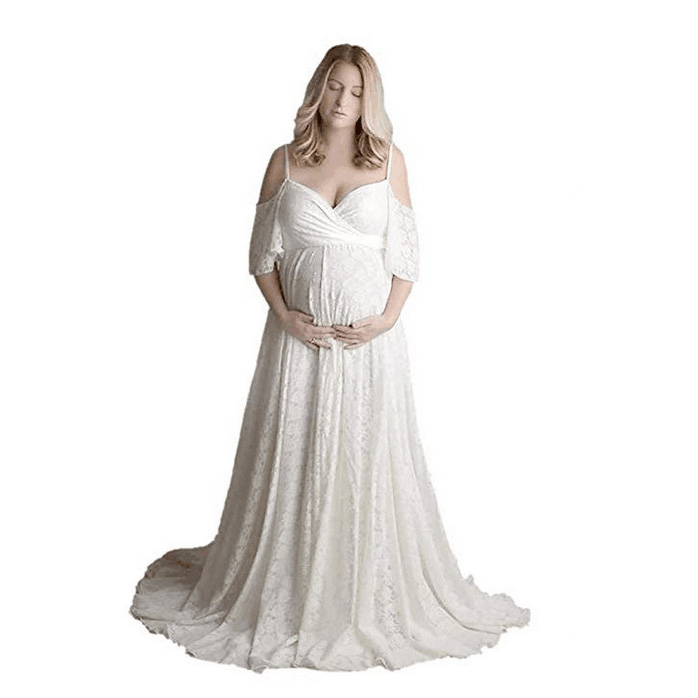 Lace Maternity Dresses For Photo Shoot Sexy V neck Pregnancy Dress Photography Props Elegence Pregnant Women Maxi Maternity Gown (3)