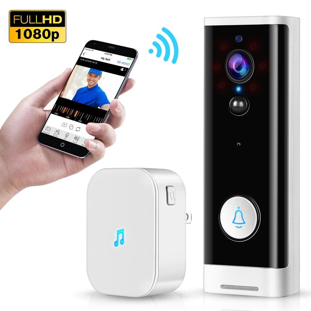 WiFi Video Doorbell 1080P Wireless Smart Security Camera Door Bell 2-way Talk PIR Motion Detection Night Vision Tuya Intercom