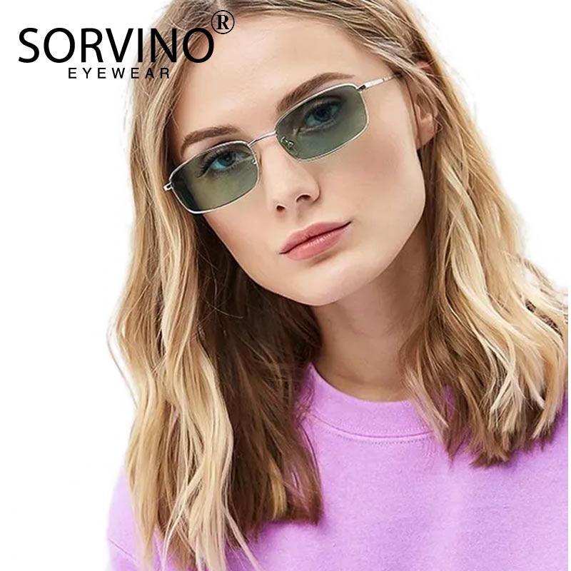 SORVINO Vintage Small Purple Square Sunglasses Men Women Brand Designer Tiny Rectangle Sun Glasses Red Pink Yellow Shades SVN79